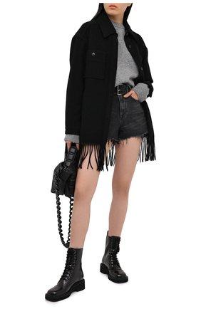 Женские джинсовые шорты DENIM X ALEXANDER WANG серого цвета, арт. 4DC1214873 | Фото 2 (Материал внешний: Хлопок; Длина Ж (юбки, платья, шорты): Мини; Стили: Кэжуэл; Кросс-КТ: Деним; Женское Кросс-КТ: Шорты-одежда)
