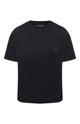 Женская хлопковая футболка EMPORIO ARMANI темно-синего цвета, арт. 3K2T7X/2J53Z   Фото 1