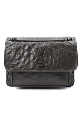 Женская сумка niki SAINT LAURENT темно-серого цвета, арт. 633158/0EN04 | Фото 1 (Ремень/цепочка: С цепочкой, На ремешке; Сумки-технические: Сумки через плечо; Материал: Натуральная кожа; Размер: medium)