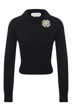Женский кашемировый пуловер ALEXANDER MCQUEEN черного цвета, арт. 650357/Q1ATF | Фото 1