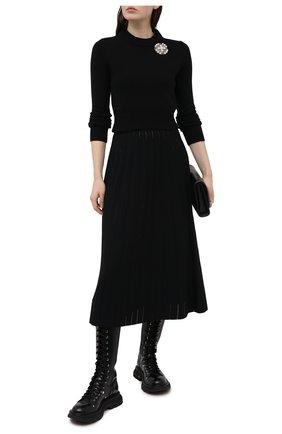 Женский кашемировый пуловер ALEXANDER MCQUEEN черного цвета, арт. 650357/Q1ATF | Фото 2