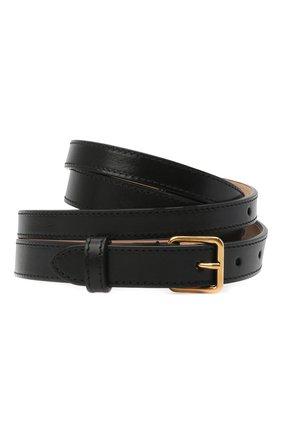 Женский кожаный ремень ALEXANDER MCQUEEN черного цвета, арт. 640944/1BR0T | Фото 1