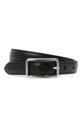 Женский кожаный ремень ALEXANDER MCQUEEN черного цвета, арт. 640664/1BR0I | Фото 1 (Материал: Кожа)