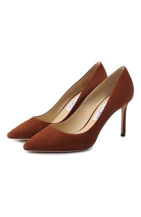 Женские замшевые туфли romy 85 JIMMY CHOO коричневого цвета, арт. R0MY 85/SUE | Фото 1