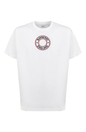 Мужская хлопковая футболка BURBERRY белого цвета, арт. 8037048 | Фото 1