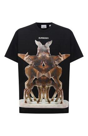 Мужская хлопковая футболка BURBERRY черного цвета, арт. 8037056 | Фото 1