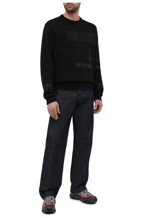 Мужской хлопковый свитшот BURBERRY черного цвета, арт. 8037553 | Фото 2