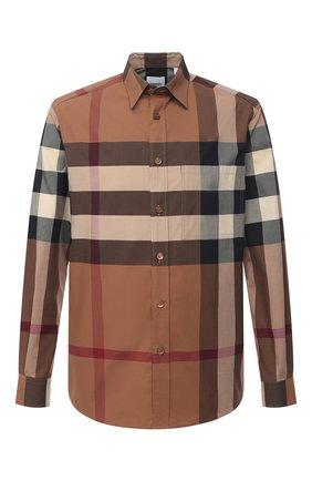 Мужская хлопковая рубашка BURBERRY бежевого цвета, арт. 8037640 | Фото 1