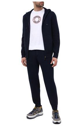 Мужские кашемировые джоггеры BURBERRY синего цвета, арт. 8037935 | Фото 2 (Мужское Кросс-КТ: Брюки-трикотаж; Материал внешний: Кашемир, Шерсть; Длина (брюки, джинсы): Стандартные; Стили: Спорт-шик; Силуэт М (брюки): Джоггеры)