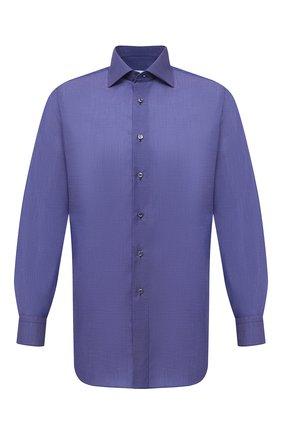 Мужская хлопковая сорочка BRIONI фиолетового цвета, арт. RCB10M/P006D | Фото 1 (Манжеты: На пуговицах; Рубашки М: Regular Fit; Стили: Классический; Рукава: Длинные; Воротник: Кент; Случай: Формальный; Длина (для топов): Стандартные; Материал внешний: Хлопок; Принт: Однотонные)