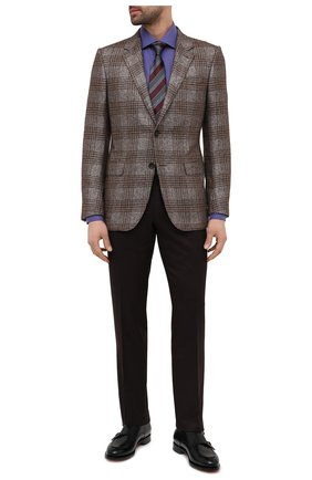 Мужская хлопковая сорочка BRIONI фиолетового цвета, арт. RCB10M/P006D | Фото 2 (Манжеты: На пуговицах; Рубашки М: Regular Fit; Стили: Классический; Рукава: Длинные; Воротник: Кент; Случай: Формальный; Длина (для топов): Стандартные; Материал внешний: Хлопок; Принт: Однотонные)