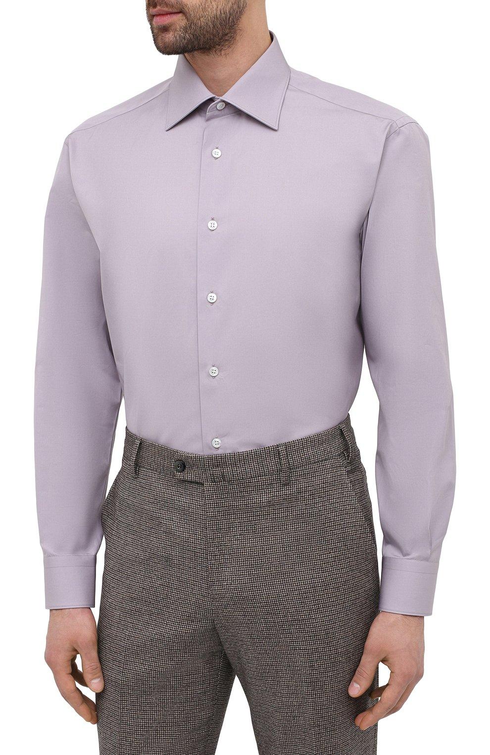 Мужская хлопковая сорочка BRIONI сиреневого цвета, арт. RCA20M/P006B   Фото 3