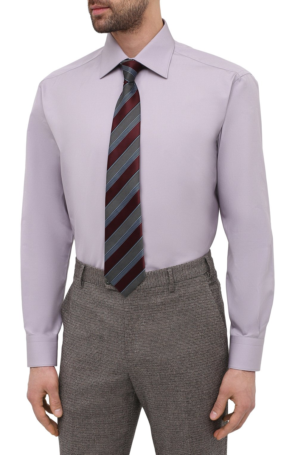 Мужская хлопковая сорочка BRIONI сиреневого цвета, арт. RCA20M/P006B   Фото 4