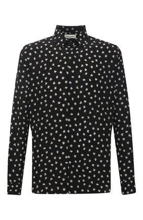 Мужская шелковая рубашка SAINT LAURENT черного цвета, арт. 646850/Y2C86 | Фото 1