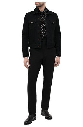 Мужская шелковая рубашка SAINT LAURENT черного цвета, арт. 646850/Y2C86 | Фото 2