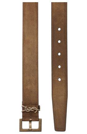 Мужской замшевый ремень SAINT LAURENT коричневого цвета, арт. 634440/0IS0B | Фото 2 (Случай: Повседневный)