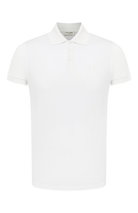 Мужское хлопковое поло SAINT LAURENT белого цвета, арт. 554052/YB20C   Фото 1
