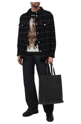 Мужские кожаные кеды sl24 SAINT LAURENT черного цвета, арт. 610618/04LB1 | Фото 2
