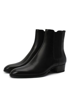 Мужские кожаные челси wyatt SAINT LAURENT черного цвета, арт. 634194/1YL00 | Фото 1 (Мужское Кросс-КТ: Сапоги-обувь, Казаки-обувь, Челси-обувь; Материал внутренний: Натуральная кожа; Подошва: Плоская)