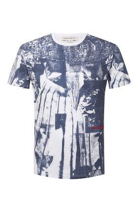 Мужская хлопковая футболка ALEXANDER MCQUEEN синего цвета, арт. 650408/QQZ62 | Фото 1 (Рукава: Короткие; Длина (для топов): Стандартные; Стили: Гранж; Принт: С принтом; Материал внешний: Хлопок)