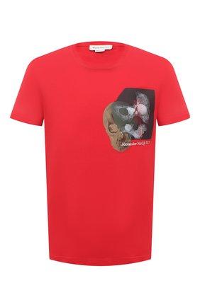 Мужская хлопковая футболка ALEXANDER MCQUEEN красного цвета, арт. 649875/QQZ55   Фото 1