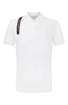 Мужское хлопковое поло ALEXANDER MCQUEEN белого цвета, арт. 625245/QQX33 | Фото 1 (Длина (для топов): Стандартные; Застежка: Пуговицы; Стили: Кэжуэл; Материал внешний: Хлопок; Рукава: Короткие)