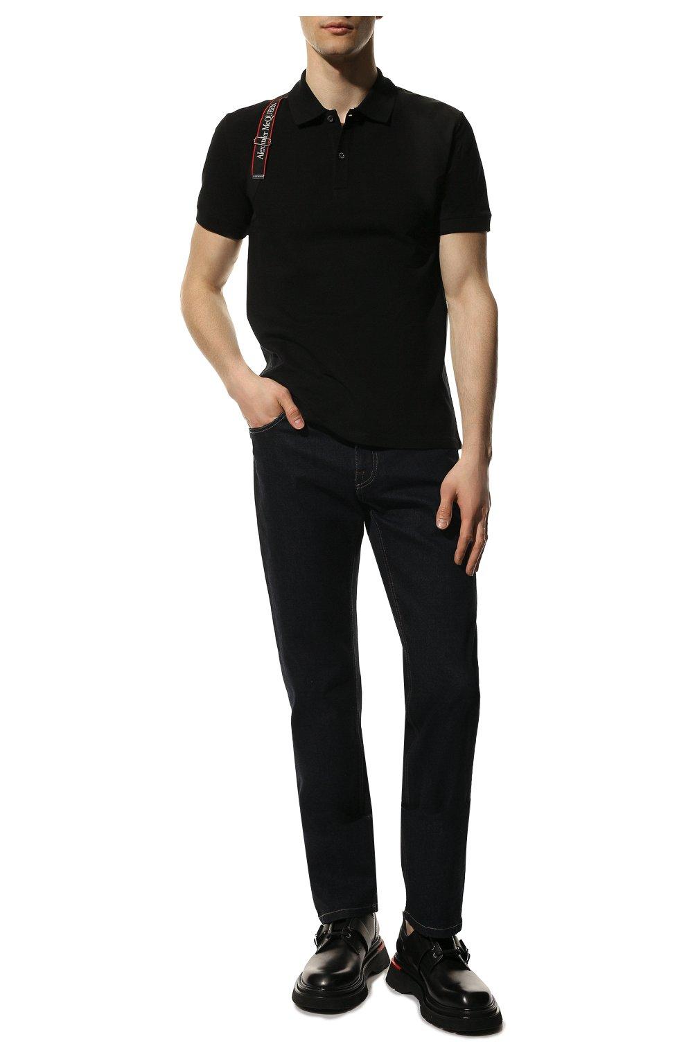 Мужское хлопковое поло ALEXANDER MCQUEEN черного цвета, арт. 625245/QQX33   Фото 2 (Застежка: Пуговицы; Рукава: Короткие; Длина (для топов): Стандартные; Материал внешний: Хлопок; Стили: Кэжуэл)