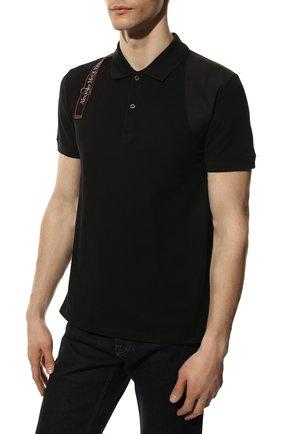 Мужское хлопковое поло ALEXANDER MCQUEEN черного цвета, арт. 625245/QQX33   Фото 3 (Застежка: Пуговицы; Рукава: Короткие; Длина (для топов): Стандартные; Материал внешний: Хлопок; Стили: Кэжуэл)