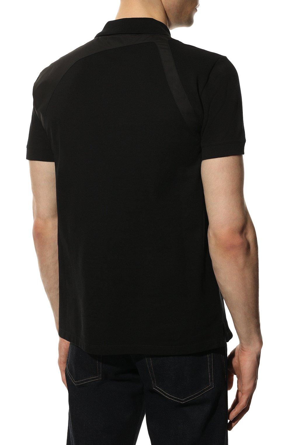 Мужское хлопковое поло ALEXANDER MCQUEEN черного цвета, арт. 625245/QQX33   Фото 4 (Застежка: Пуговицы; Рукава: Короткие; Длина (для топов): Стандартные; Материал внешний: Хлопок; Стили: Кэжуэл)