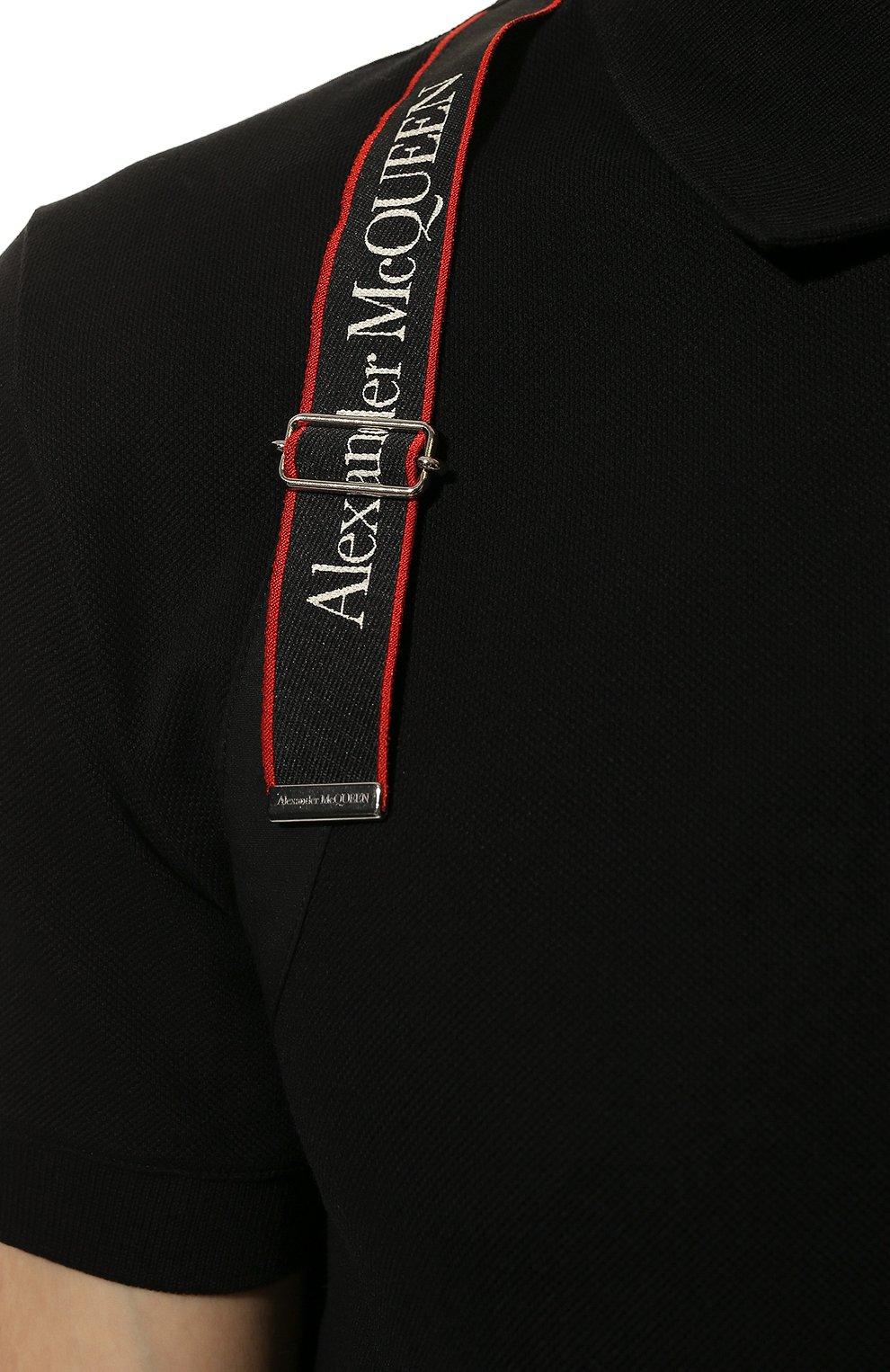 Мужское хлопковое поло ALEXANDER MCQUEEN черного цвета, арт. 625245/QQX33   Фото 5 (Застежка: Пуговицы; Рукава: Короткие; Длина (для топов): Стандартные; Материал внешний: Хлопок; Стили: Кэжуэл)