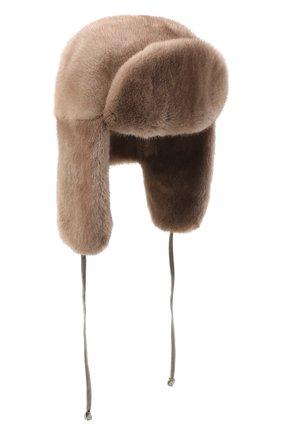 Женская шапка-ушанка из меха норки KUSSENKOVV бежевого цвета, арт. 91900033093 | Фото 1