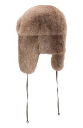 Женская шапка-ушанка из меха норки KUSSENKOVV бежевого цвета, арт. 91900033093 | Фото 2