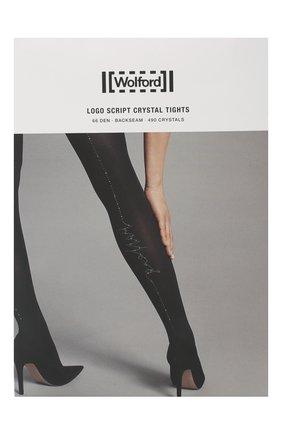 Женские колготки logo script crystal WOLFORD черного цвета, арт. 14843 | Фото 1