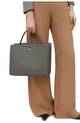 Женская сумка LORO PIANA светло-серого цвета, арт. FAL3214 | Фото 2 (Материал: Натуральная кожа; Сумки-технические: Сумки top-handle, Сумки через плечо; Размер: medium)