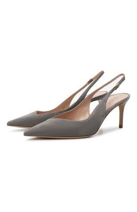 Женские замшевые туфли GIORGIO ARMANI светло-серого цвета, арт. X1E891/XC067 | Фото 1