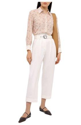 Женские брюки из хлопка и льна BRUNELLO CUCINELLI кремвого цвета, арт. M0F69P7638 | Фото 2