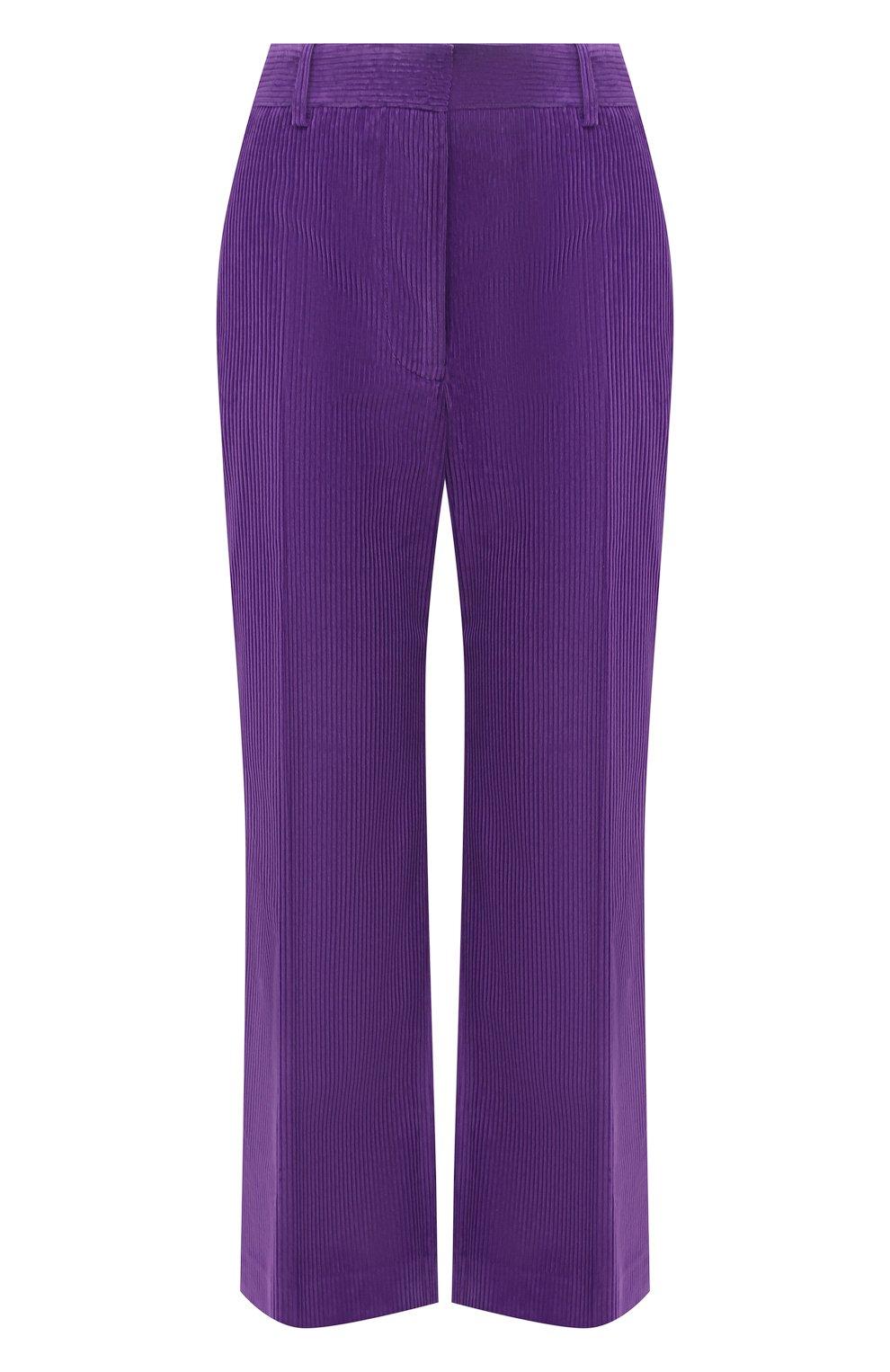 Женские хлопковые брюки VICTORIA BECKHAM фиолетового цвета, арт. 1121WTR002225A   Фото 1 (Женское Кросс-КТ: Брюки-одежда; Силуэт Ж (брюки и джинсы): Расклешенные; Материал внешний: Хлопок; Длина (брюки, джинсы): Укороченные; Стили: Кэжуэл)