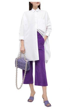 Женские хлопковые брюки VICTORIA BECKHAM фиолетового цвета, арт. 1121WTR002225A | Фото 2