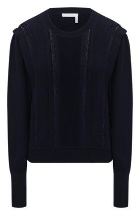 Женский шерстяной пуловер CHLOÉ синего цвета, арт. CHC21SMP99520 | Фото 1