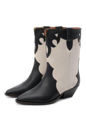 Женские кожаные ботильоны duoni ISABEL MARANT черно-белого цвета, арт. DU0NI/B00635-21P011S | Фото 1