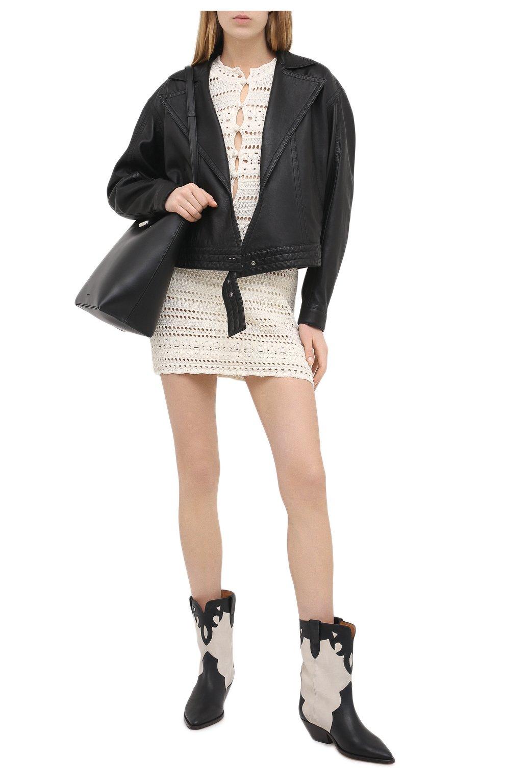 Женские кожаные ботильоны duoni ISABEL MARANT черно-белого цвета, арт. DU0NI/B00635-21P011S | Фото 2