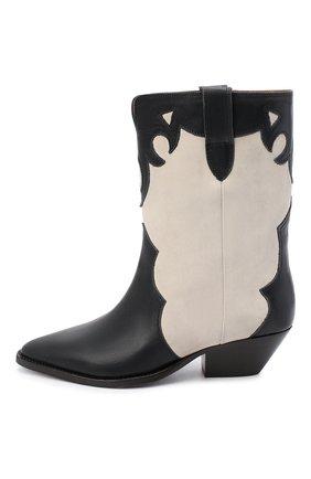 Женские кожаные ботильоны duoni ISABEL MARANT черно-белого цвета, арт. DU0NI/B00635-21P011S | Фото 3