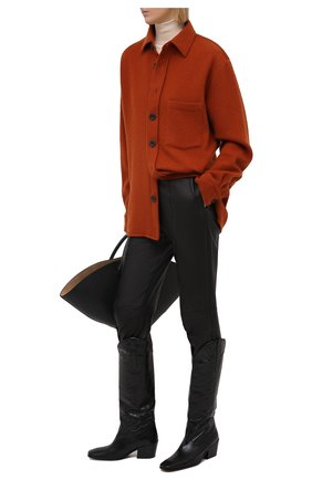 Женские кожаные брюки ISABEL MARANT черного цвета, арт. PA1897-21P001I/BLEETA | Фото 2