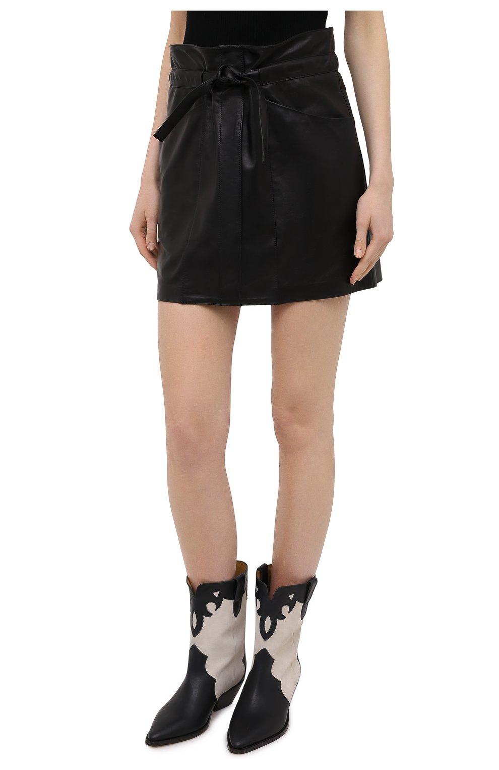 Женская кожаная юбка ISABEL MARANT черного цвета, арт. JU1277-21P001I/BILICIAE | Фото 3