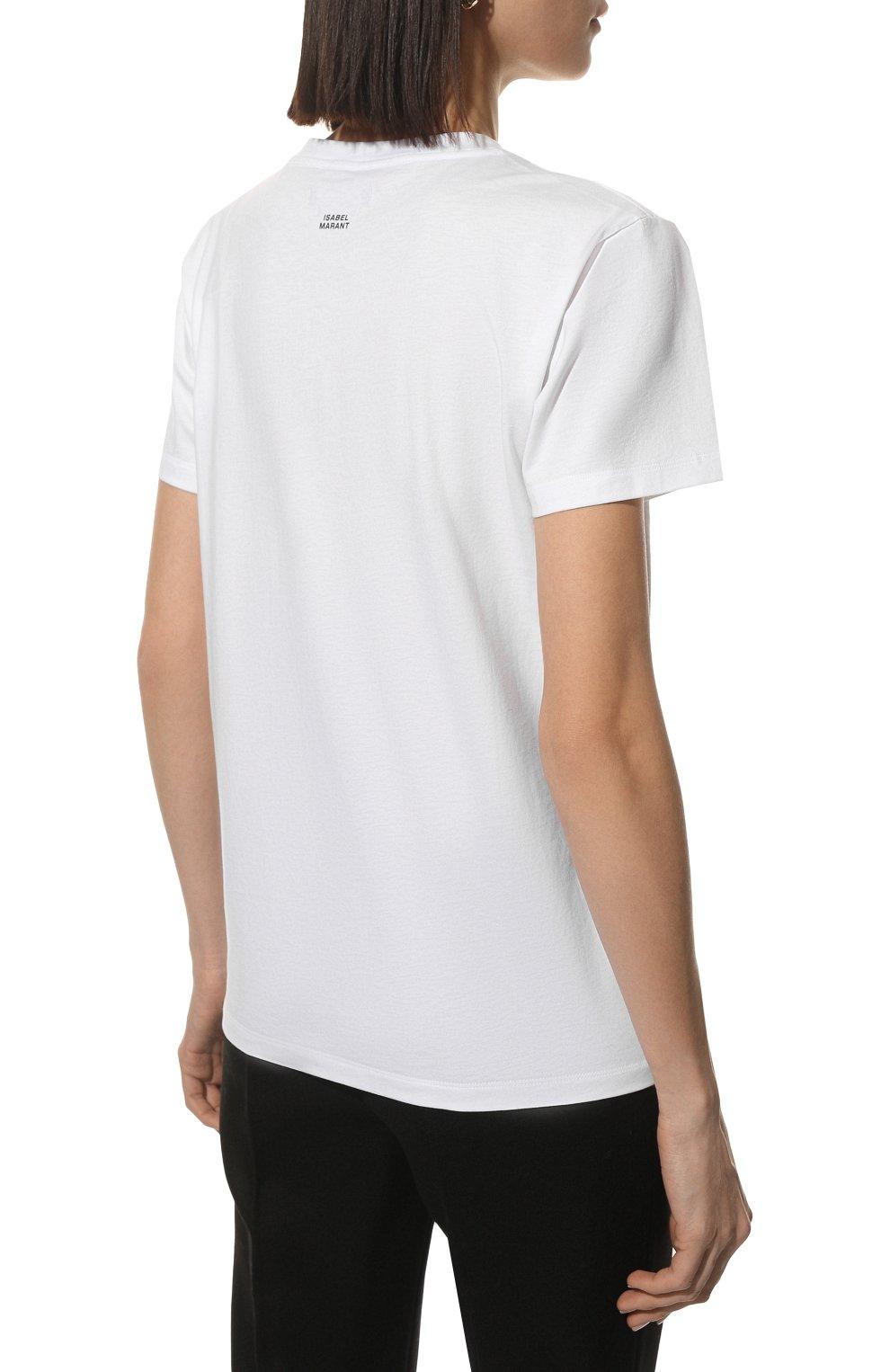 Женская хлопковая футболка ISABEL MARANT белого цвета, арт. TS0772-00M002I/ANNAX | Фото 4