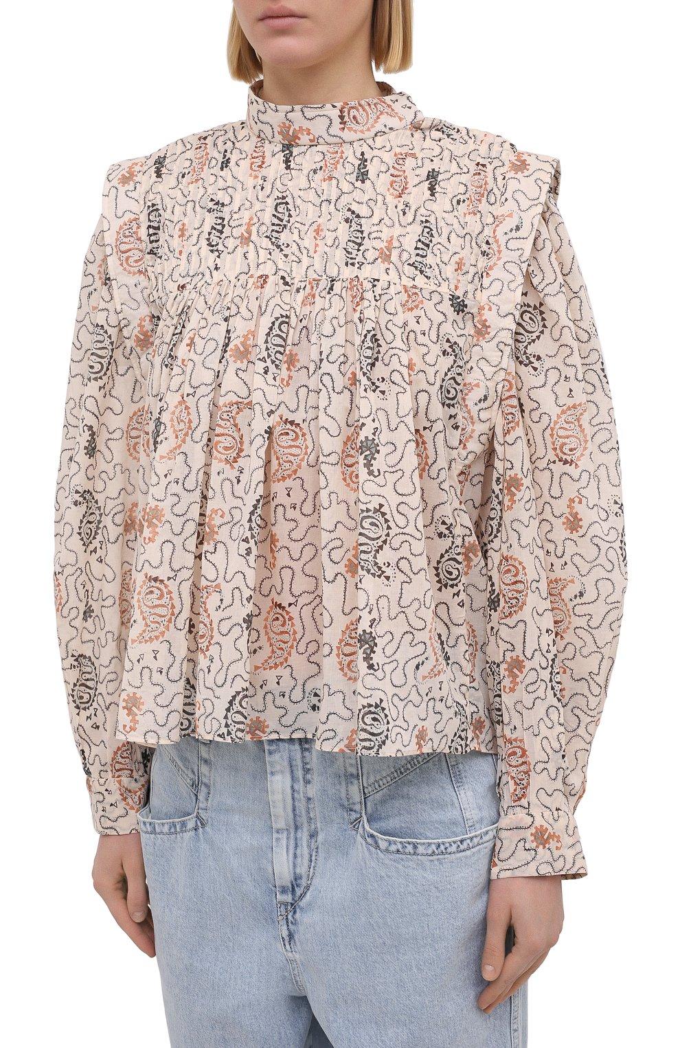 Женская хлопковая блузка ISABEL MARANT ETOILE бежевого цвета, арт. HT1664-21P031E/VEGA | Фото 3