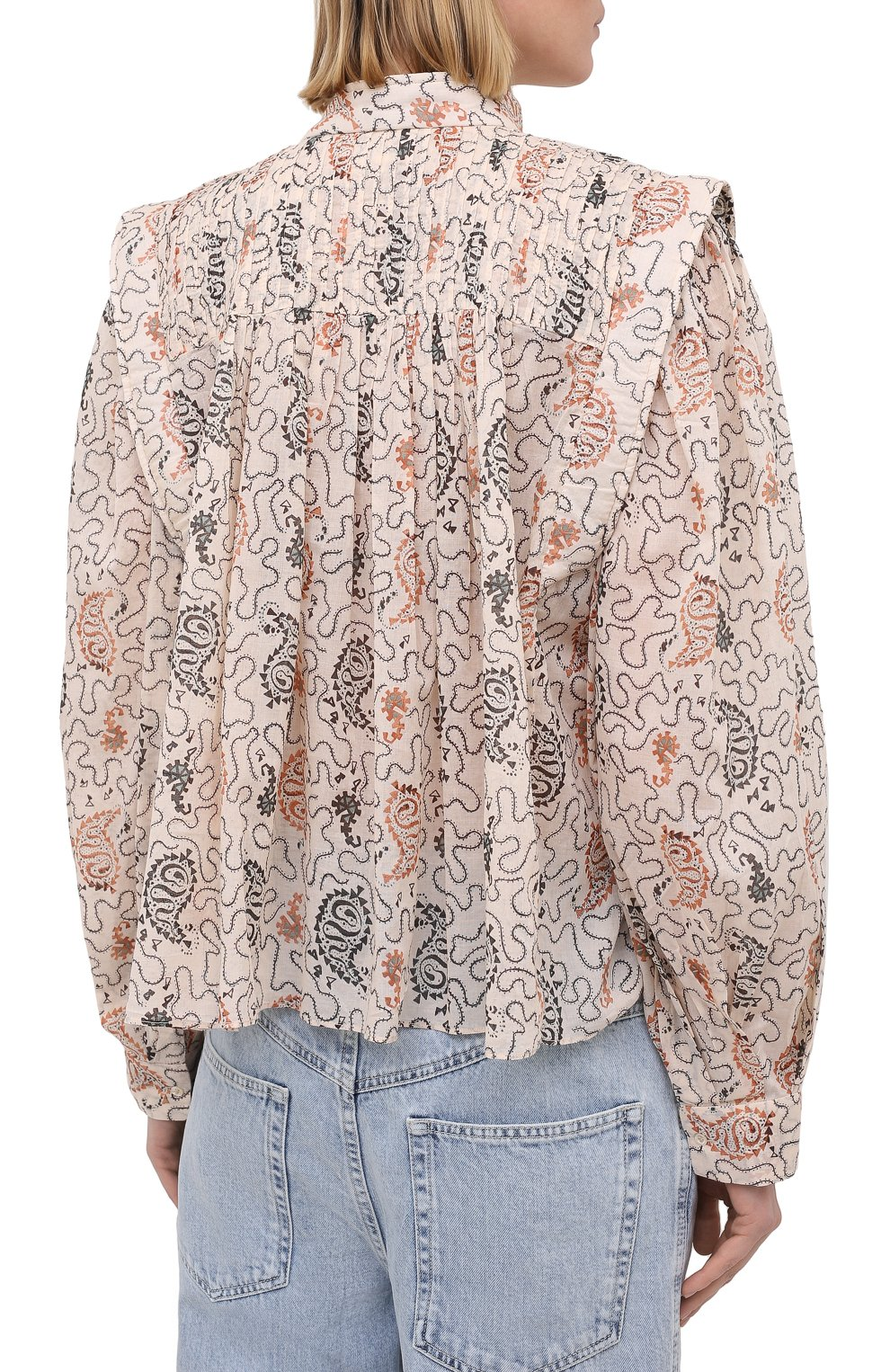 Женская хлопковая блузка ISABEL MARANT ETOILE бежевого цвета, арт. HT1664-21P031E/VEGA | Фото 4