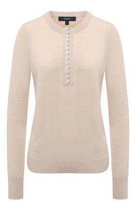 Женский кашемировый пуловер THEORY бежевого цвета, арт. J1018703 | Фото 1