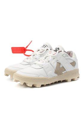 Женские комбинированные кроссовки OFF-WHITE белого цвета, арт. 0WIA258R21LEA0020101 | Фото 1 (Материал внутренний: Натуральная кожа; Подошва: Платформа)