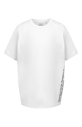 Женская хлопковая футболка BURBERRY белого цвета, арт. 8037292 | Фото 1